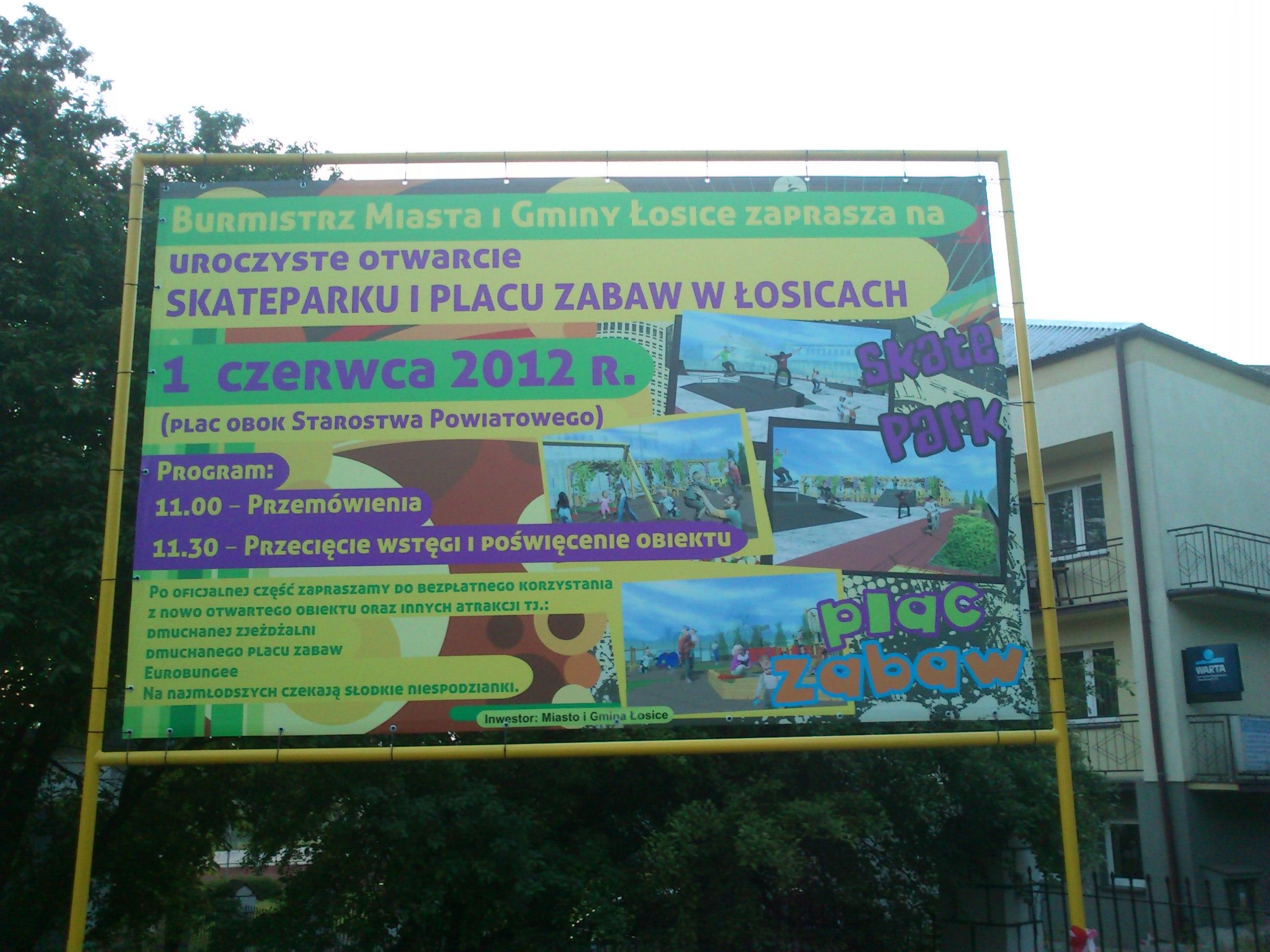 """Otwarcie nowo wybudowanego placu zabaw i """"skate parku"""" – 1 czerwiec"""