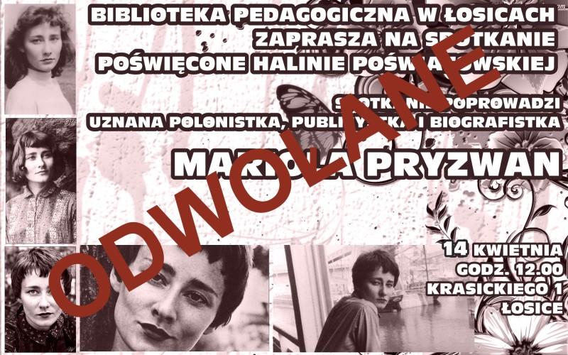 Spotkanie z Mariolą Pryzwan odwołane
