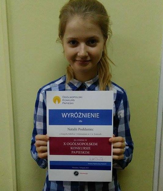 Natalia  Poddaniec wyróżniona w X Ogólnopolskim Konkursie Papieskim