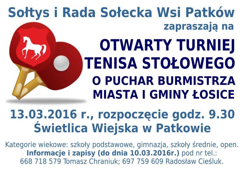 Otwarty Turniej Tenisa Stołowego o Puchar Burmistrza Miasta i Gminy Łosice