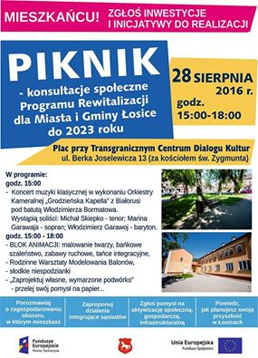 Piknik – konsultacje społeczne Programu Rewitalizacji dla Miasta i Gminy Łosice